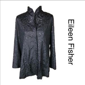 Eileen Fisher Embroidered Silk Sequin jacket. M